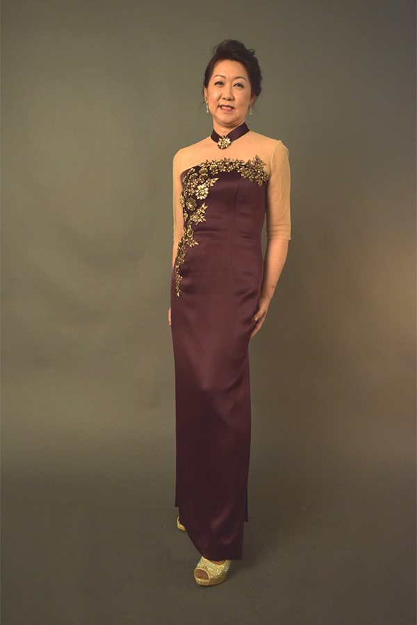 nude tulle Wine satin modern cheongsam mother of bride qipao