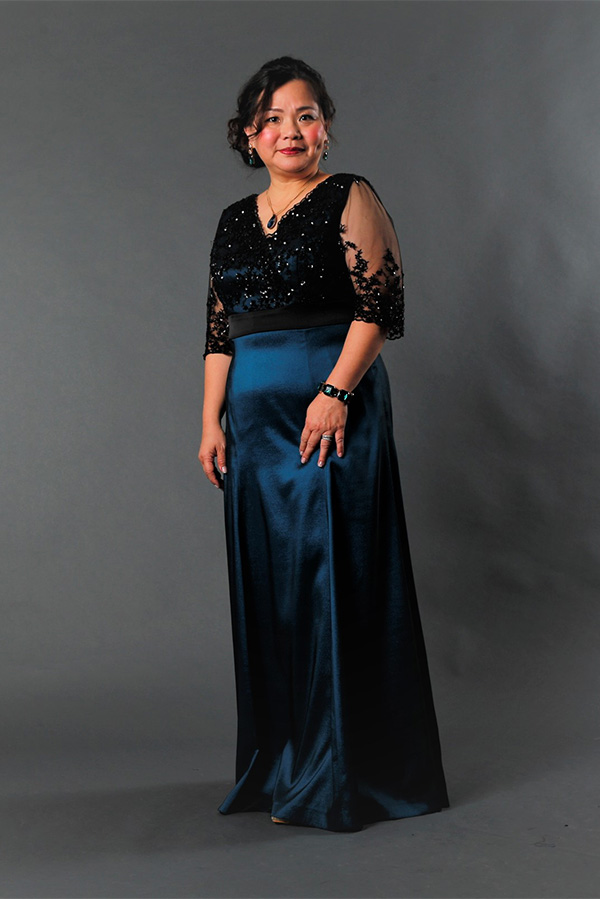 Black beaded tulle panel cut evening gown for mother-of-bride