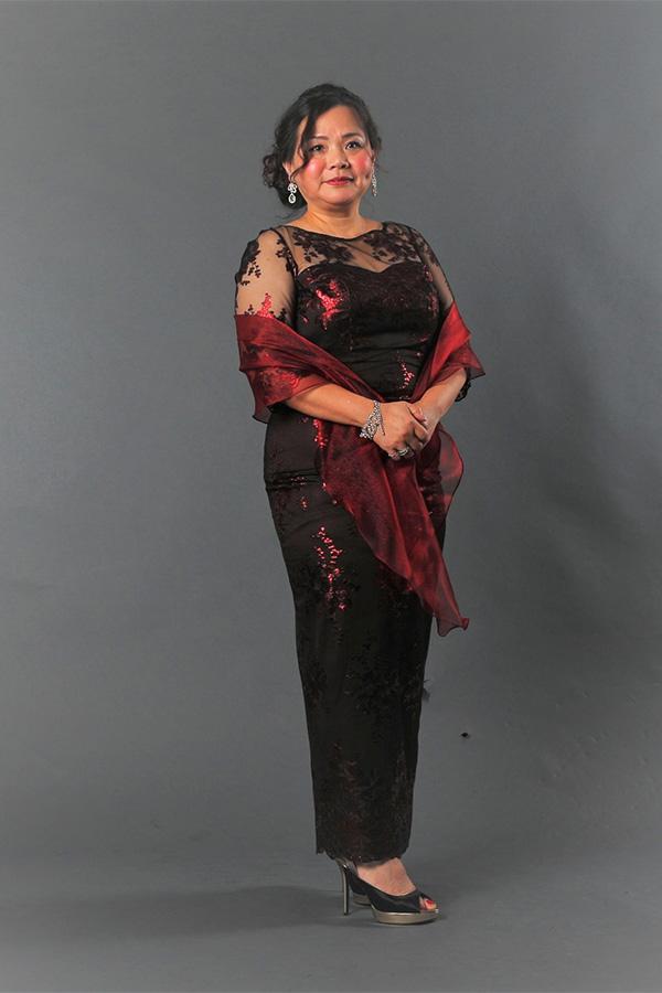 Boat-neck Metallic bronze Plus-Size Mother's Gown