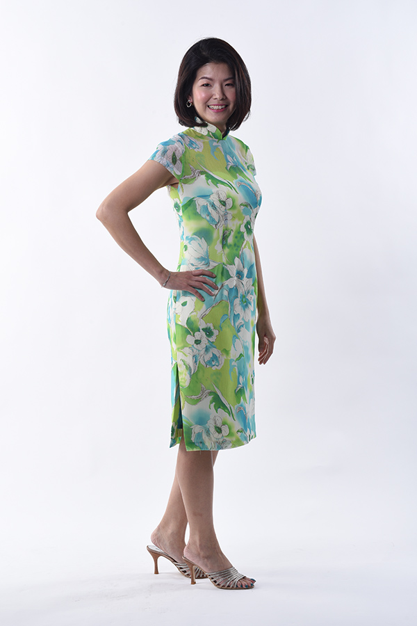 Chiffon printed cocktail cheeongsam dress