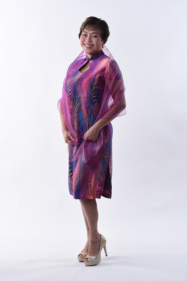 abstract Printed cocktail cheongsam Mother Day dress