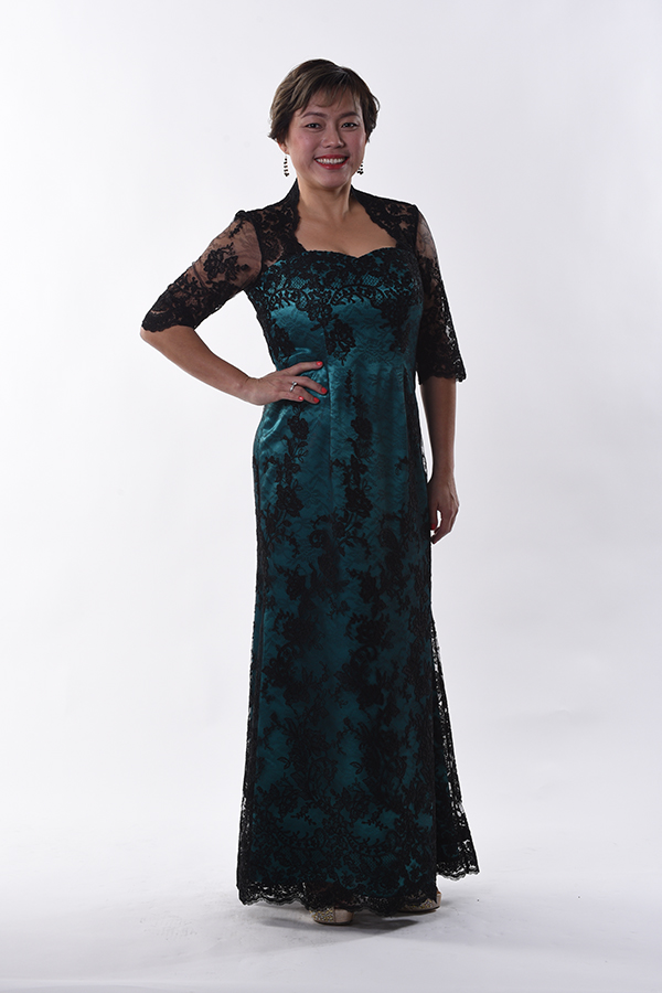 Exclusive Long border Mother Evening Gown