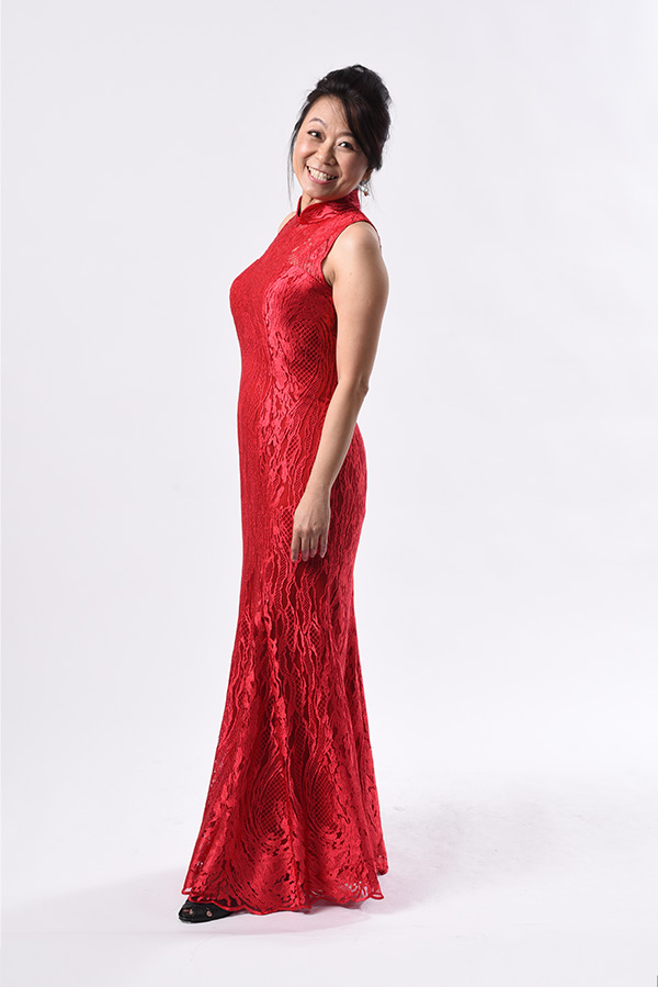 Sleeveless Red Wedding Modern Cheongsam Mermaid-cut low-back see-through
