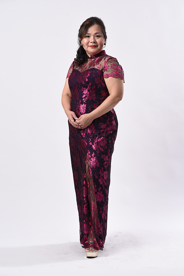 Fushia Pink Metallic Lace Modern Mother plus-size