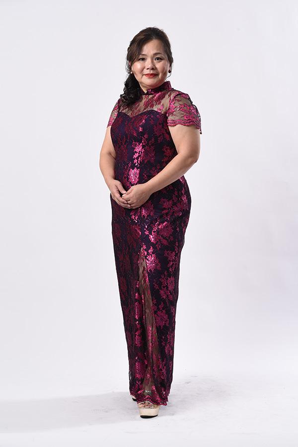 Fushia Pink Metallic Lace Modern Mother plus-size