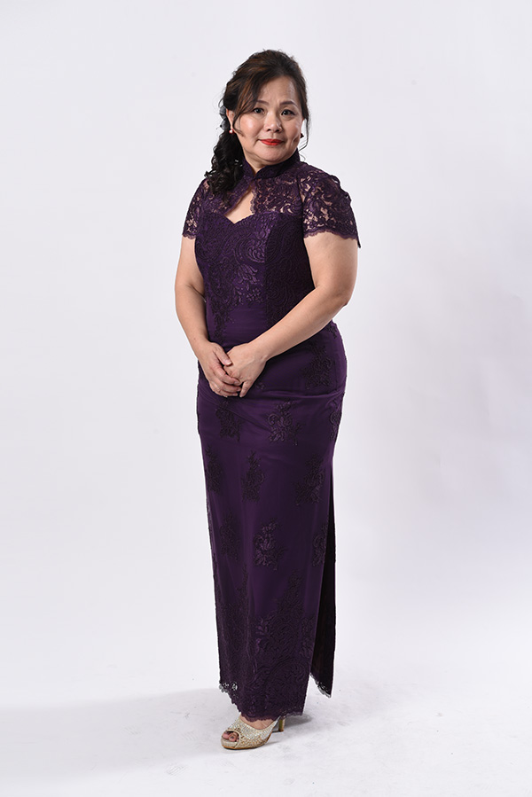 Purple Embriodery tulle Modern Mother Plus-Size Cheongsam