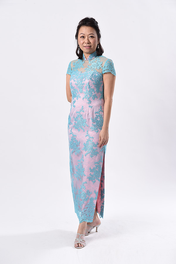 Turquoise tulle pink Modern Cheongsam