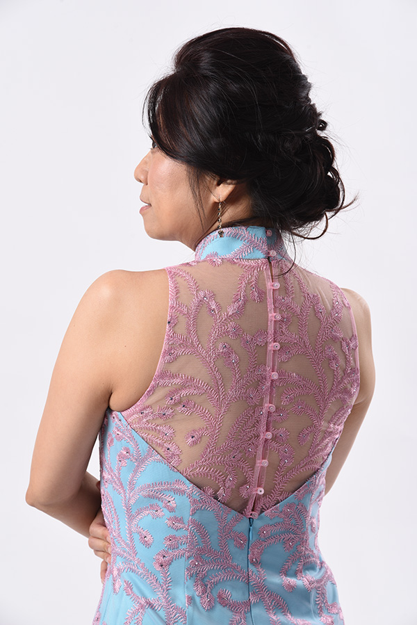 Pinembriodery Tulle Modern Cheongsam