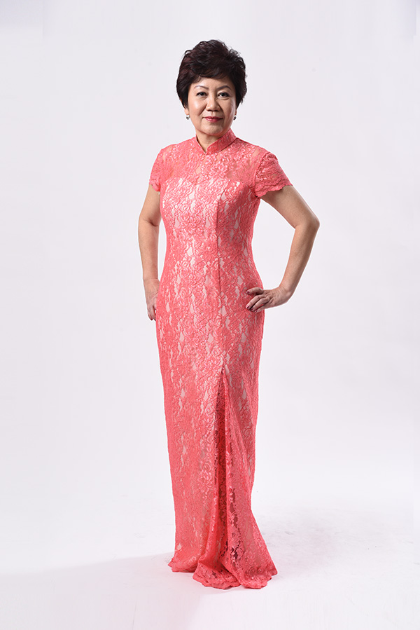 Salmon pink lace Modern Qipao