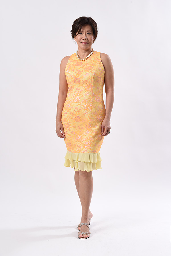 Yellow lace cocktail dress with chiffon frills custom made