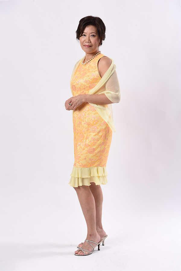 Yellow lace cocktail dress with chiffon frills custom made