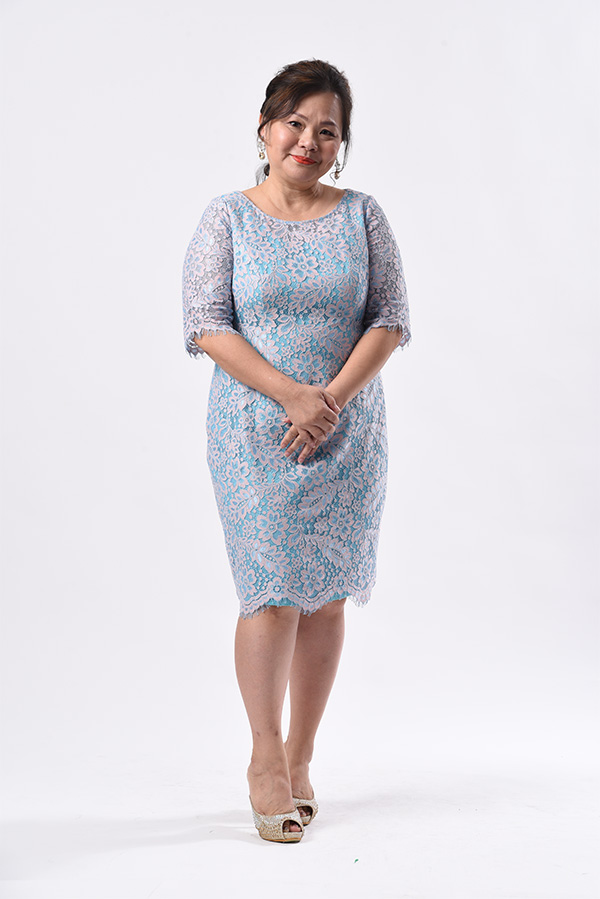 Baby blue lace cocktail dress with sleeve plus size singapore mother of bride groom