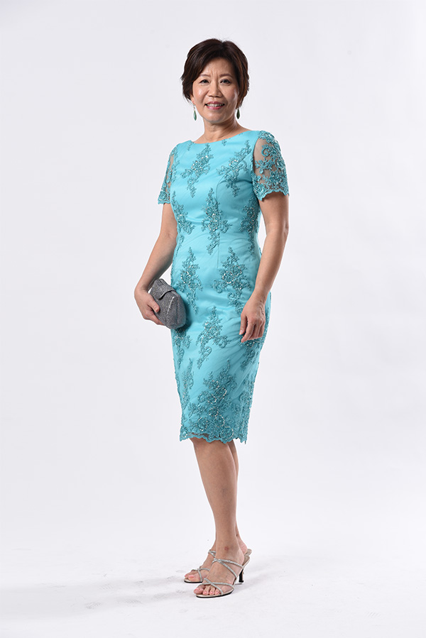 Boat-neck turquoise beaded cocktail dress custom made