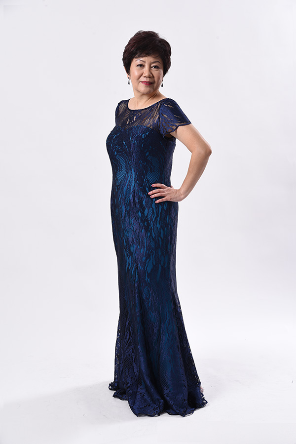 Blue abstract tulle boat neck mermaid cut mother of bride groom evening gown custom made singapore Zion-creation