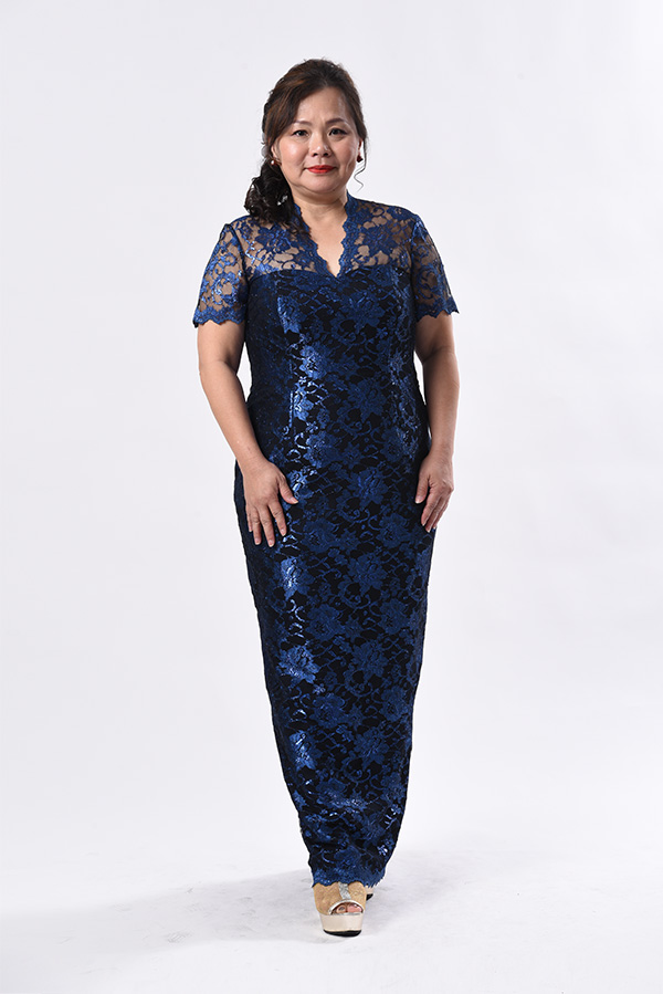 Blue metallic lace Plus-size evening gown-mother-of-bride-groom (2)