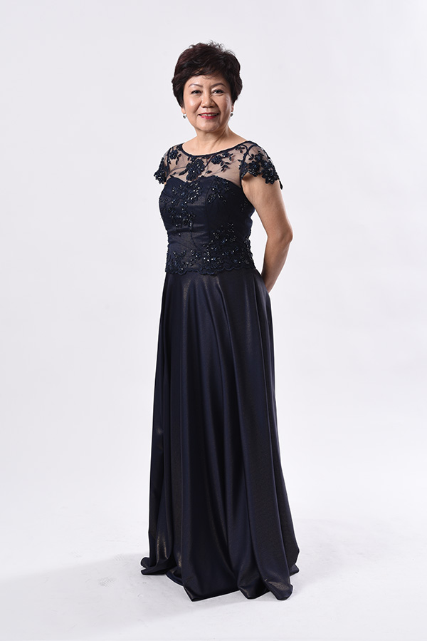 Navy blue beaded tulle boat-neck with 2 tone navy blue with gold metallic flare gown