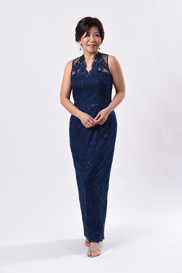 Navy blue embroidery tulle with sequins evening gown mother of bride groom slim-cut sleeveless