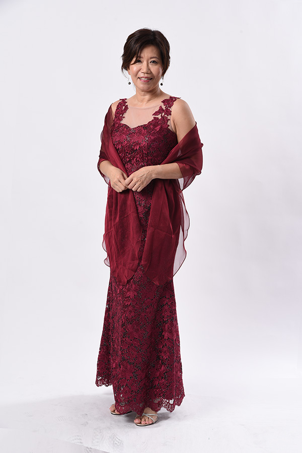 Maroon corded lace illusion look-applique modern mother f-bride groom gown