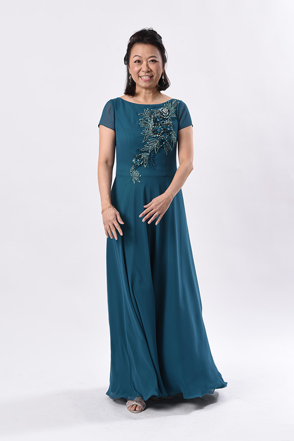 Teal Chiffon boat-neck evening gown applique work mother of bride groom gown