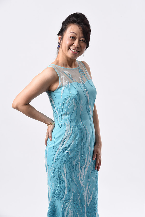 Turquoise sequin abstract design boat neck evening gown mother of bride groom mermaid cut sleeveless