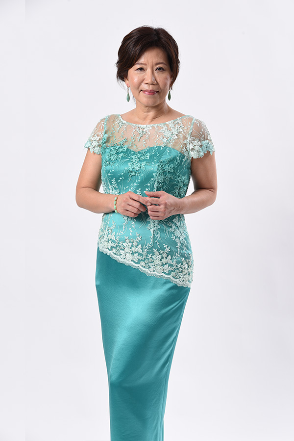3-tone beaded tulle satin mother of bride groom evening gown