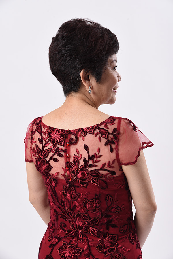 Maroon velvet lace evening gown mother of bride groom boat neck plus size