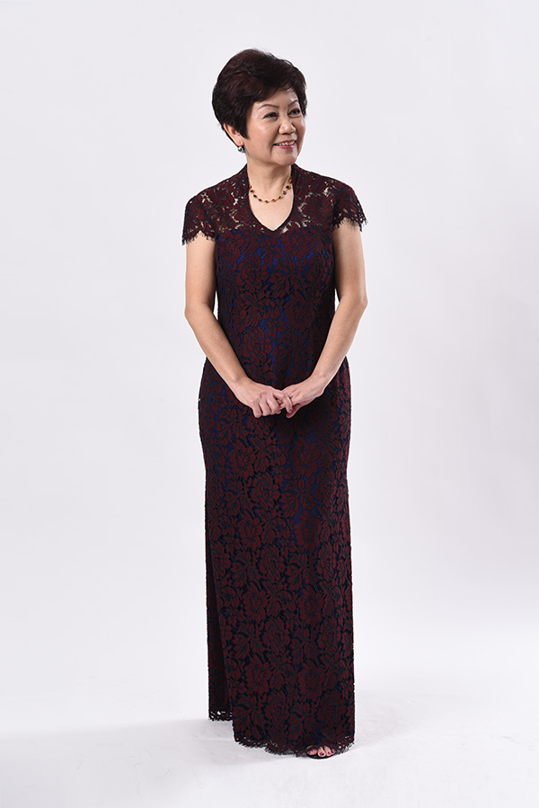 Dark Maroon corded lace open collar see-through Evening gown modern cheongsam