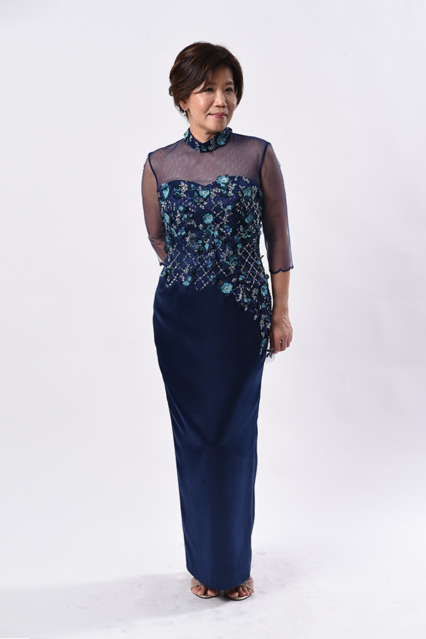 Mock turtle neck see-through beaded applique satin evening gown mother of bride groom