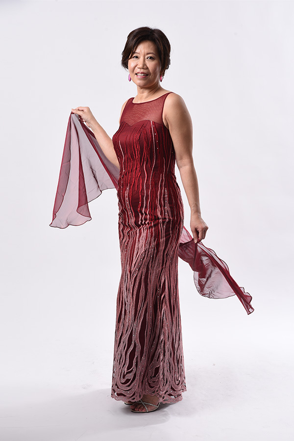 Maroon abstract tulle sleeveless boat neck evening gown-mother-of bride groom