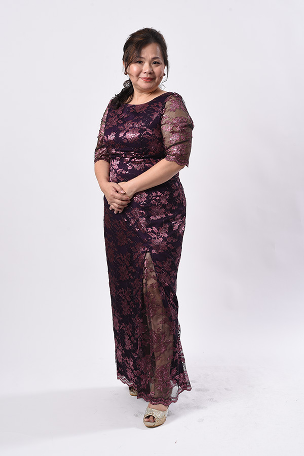 Boat neck long sleeve metallic lace plus-size mother of bride groom