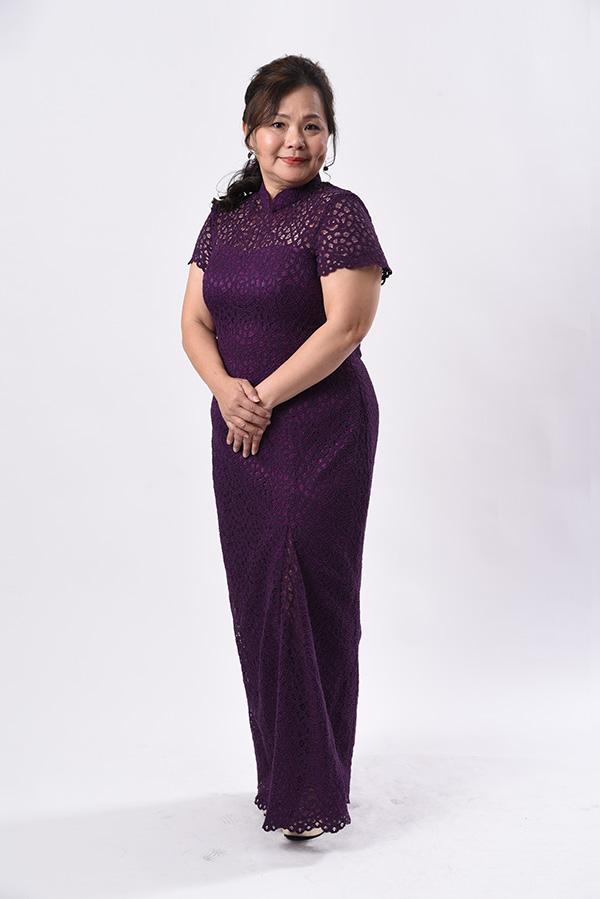 Purple cord lace modern cheongsam
