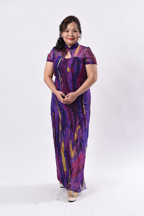 Plus-size-mother's Cheongsam, chiffon abstract design custom-made