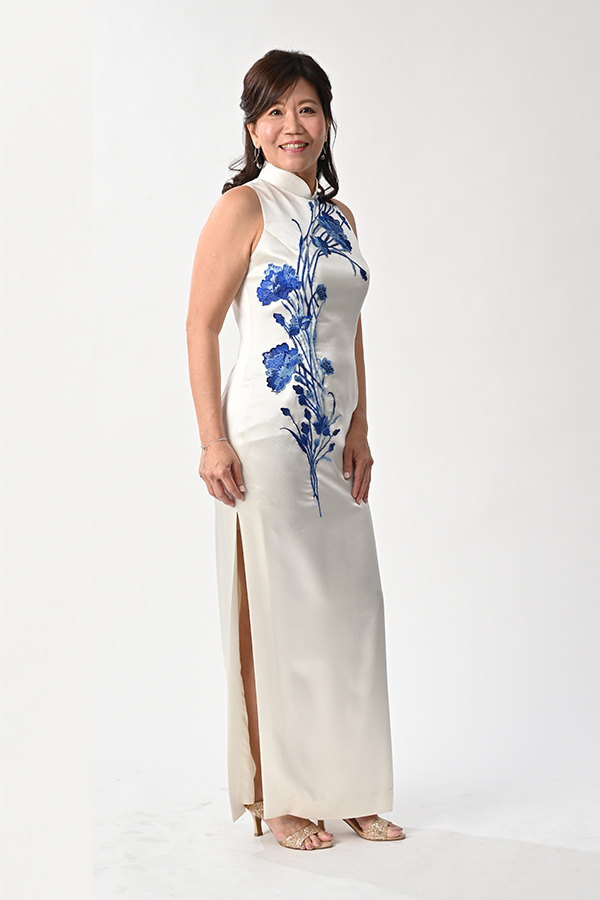 Creme satin Cheongsam Mother Qipao Bridal