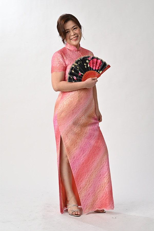 Colourful metallic lace long cheongsam
