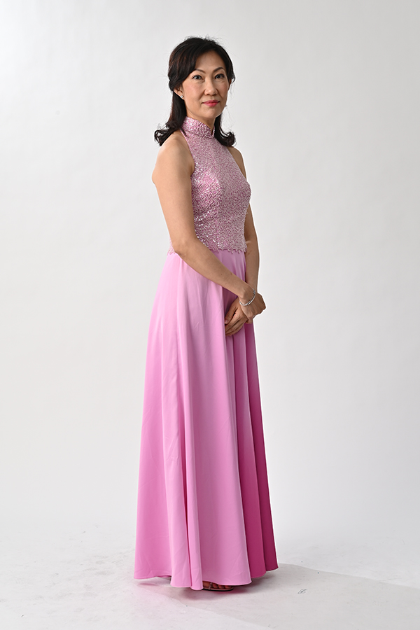 Cut-in pink beaded with gradient satin modern cheongsam