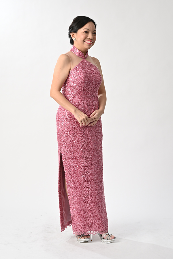 Cut-In Dusty pink sequin tulle modern cheongsam