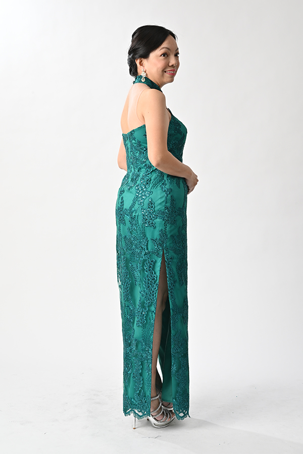 Green embriodery tulle modern Cheongsam with applique