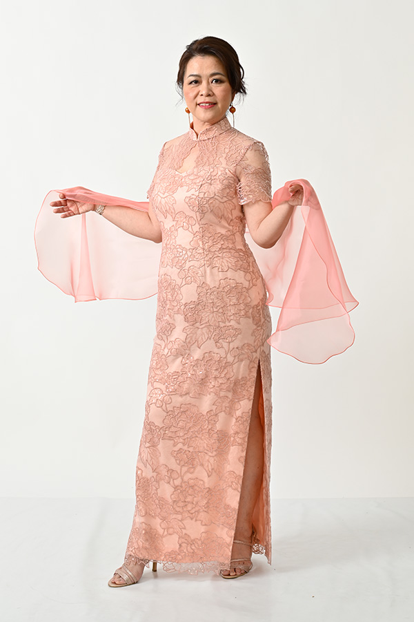 Peach sequin Tulle Modern-Mother-of-bride-groom-qipao