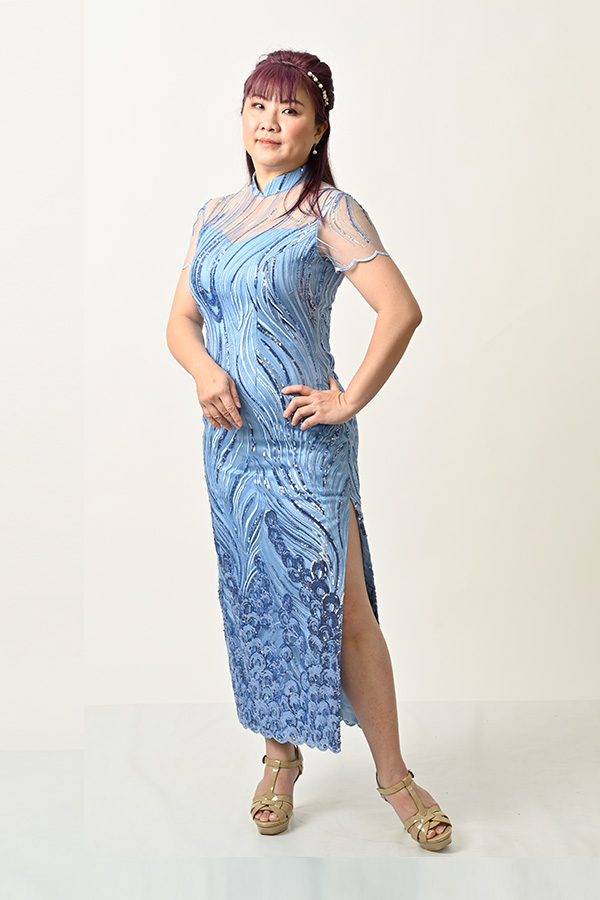 Sky blue sequin tulle plus size mother-of-bride cheongsam