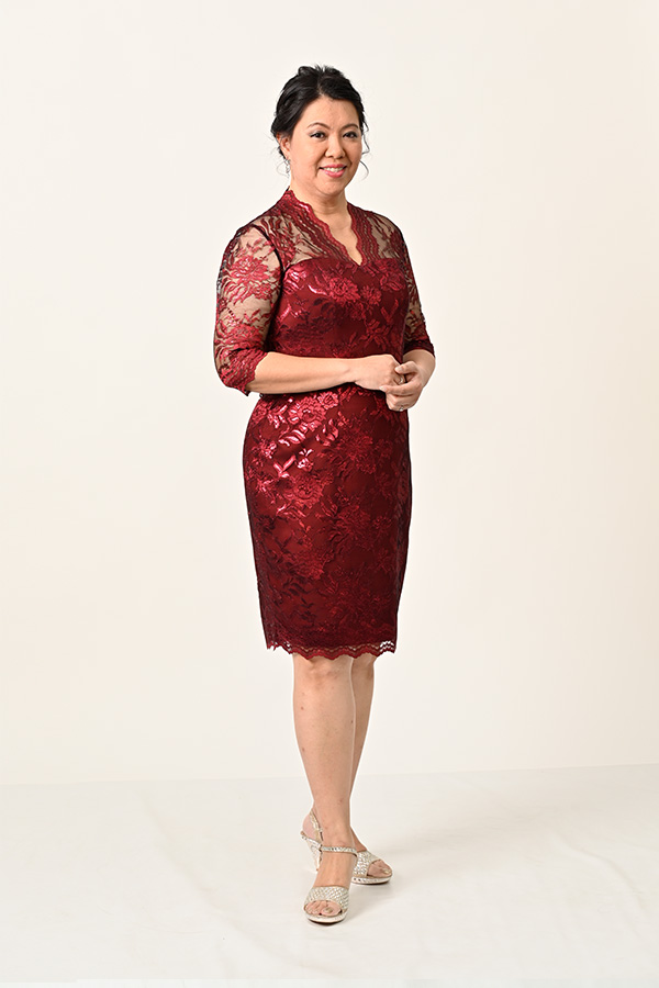 Marroon Metallic Lace-Plus-size Cocktail Dress Mother-of-bride-groom