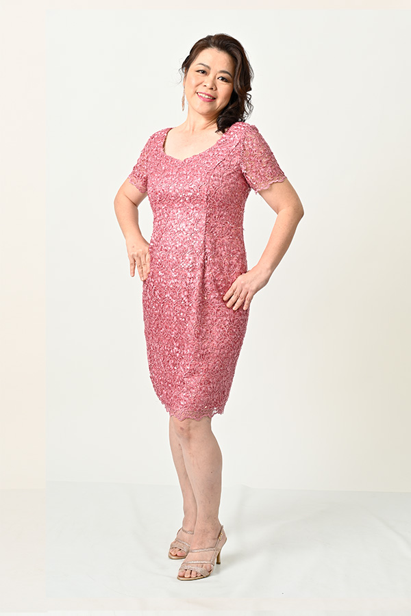 Dusty Pink Sequin Tulle sweetheart neckline plua-size cocktail dress
