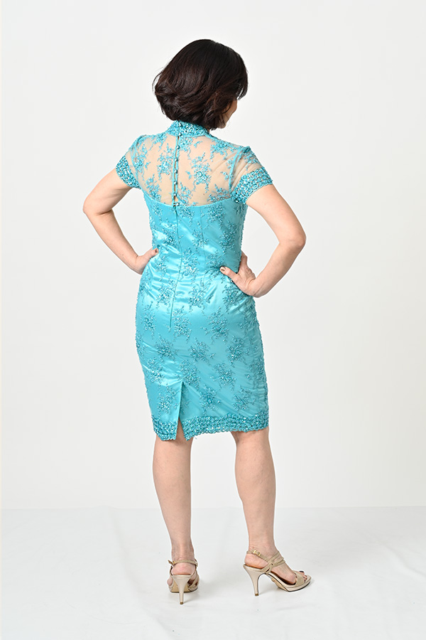 Turquoise Beaded Tulle Cocktail Dress-petite-mother-of-bride-groom
