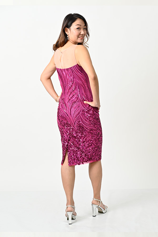 Shocking pink sequin tulle illusion look cocktail dress