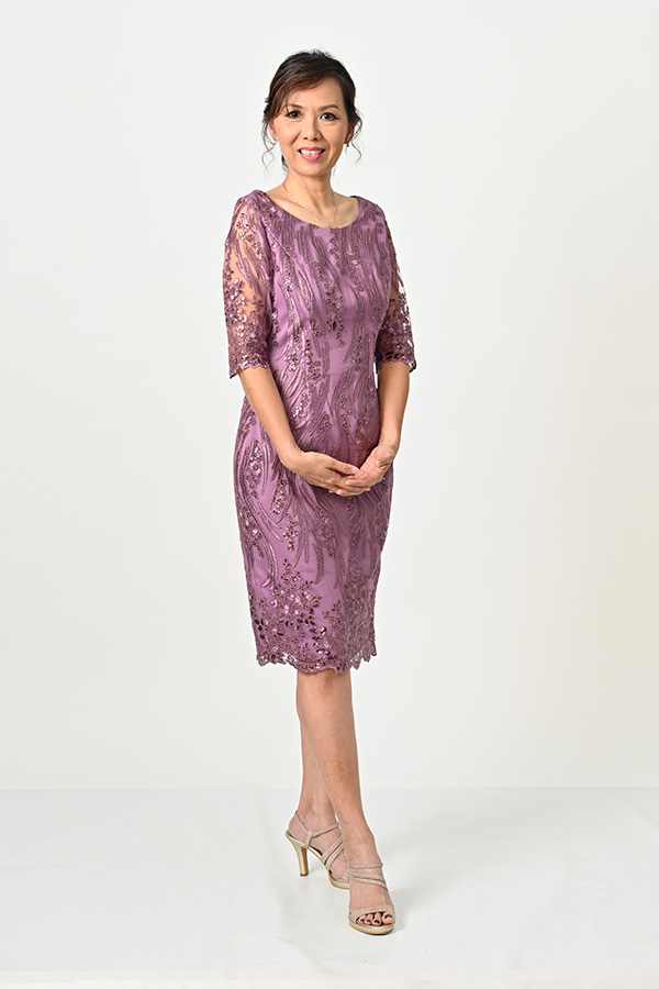 Dusty-Lilac Sequin-Tulle Boat-neck sleeve cocktail dress Mother-of-bride