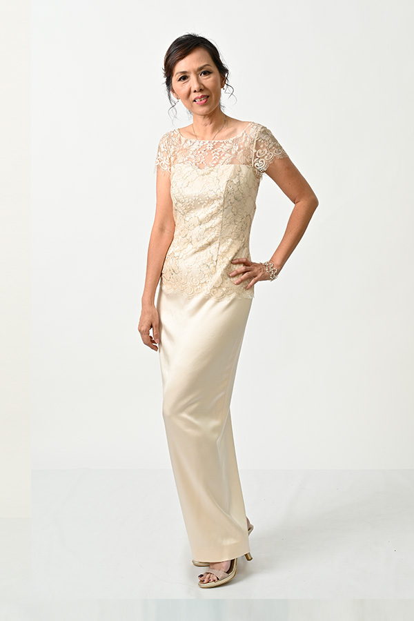 Champange Metallic French Lace Boat-neck Petite V-back Evening Gown