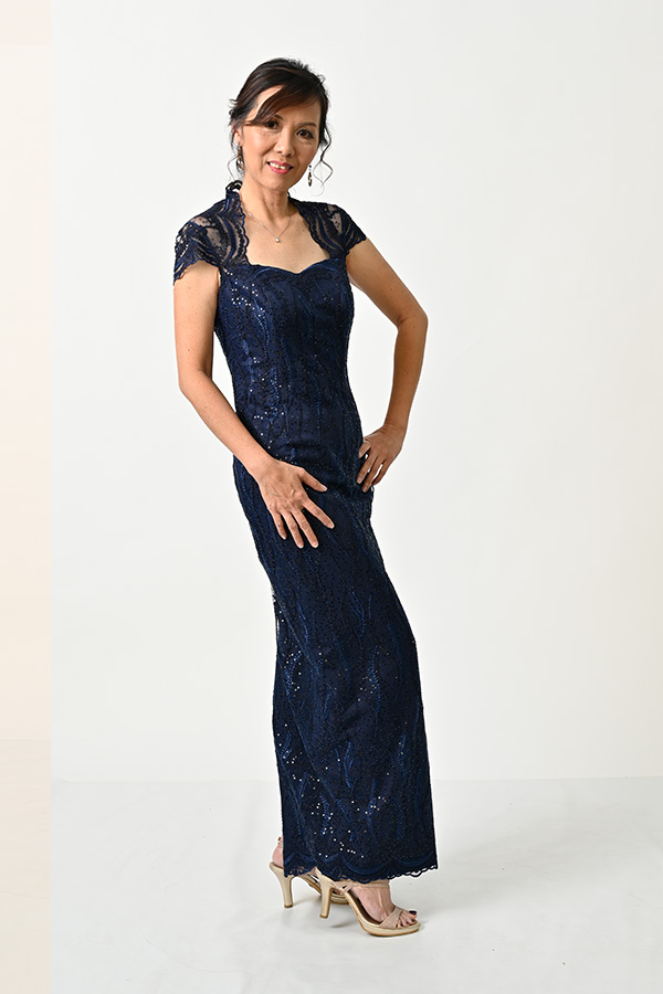 Navy Blue sequin Tulle Petite Mother's Gown