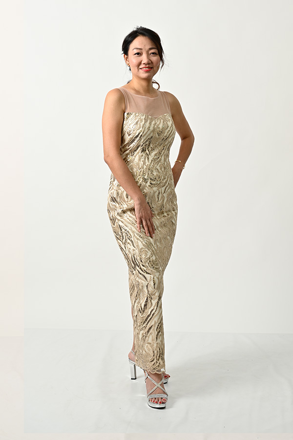 Light Gold Boat-neck Sleeveless-Evening Gown
