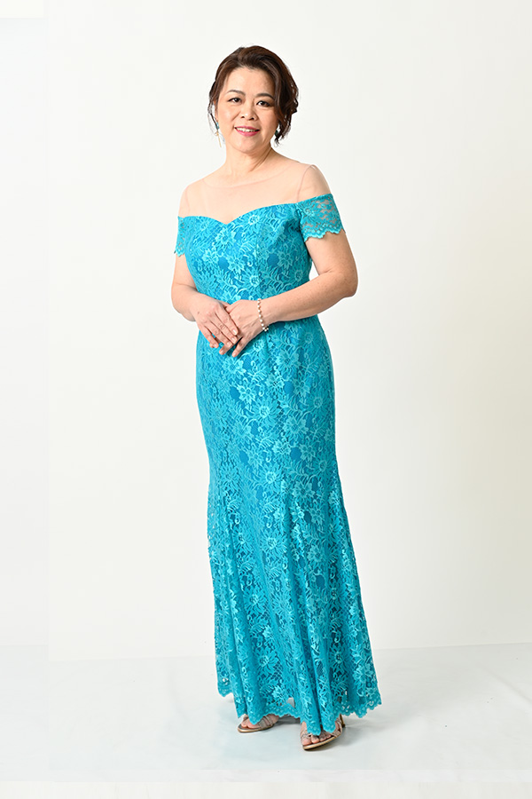 Turquoise Lace Off-shoulder mermaid-cut Evening Gown