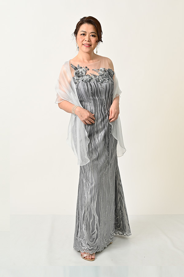 Silver Grey Embridery Tulle Evening Gown