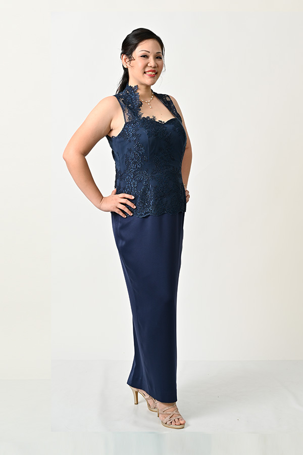 Navy Blue Tulle Sleeveless Plus-Size Evening Gown